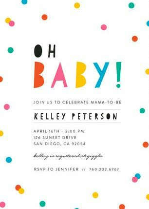 Colorful Oh, Baby Invitations