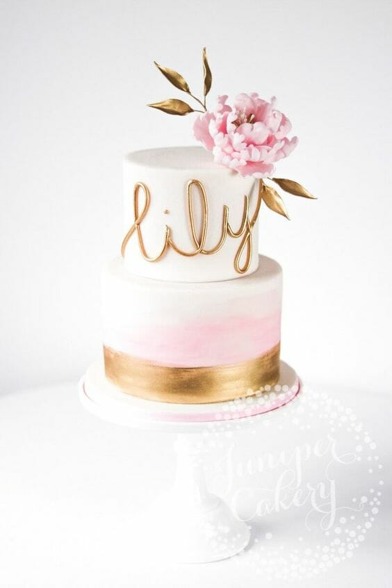 White Gold and Pink Flower Cake