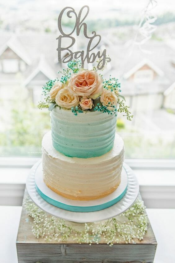 Colorful Shimmer & Flowers Cake