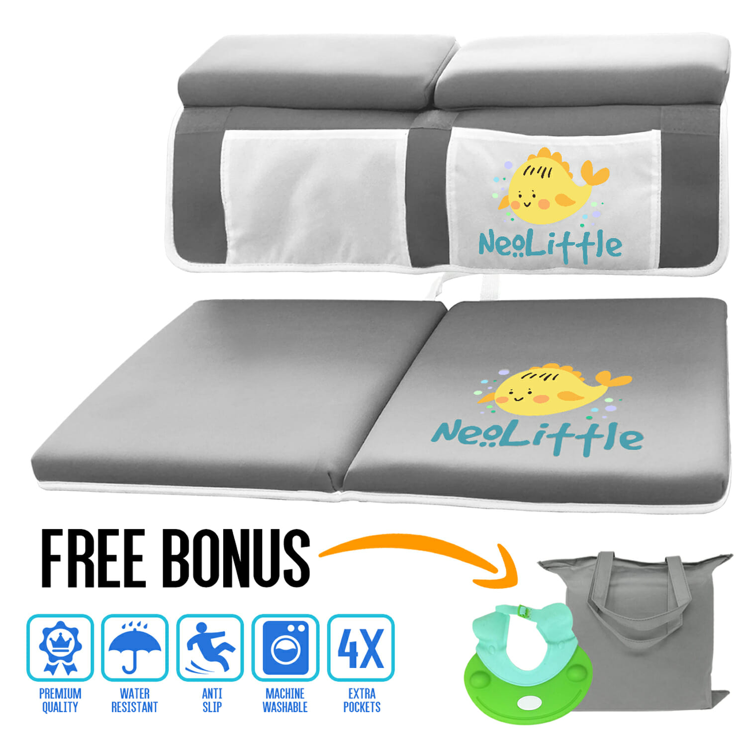 NeoLittle Baby Bath Kneeler and Elbow Rest Pad Set