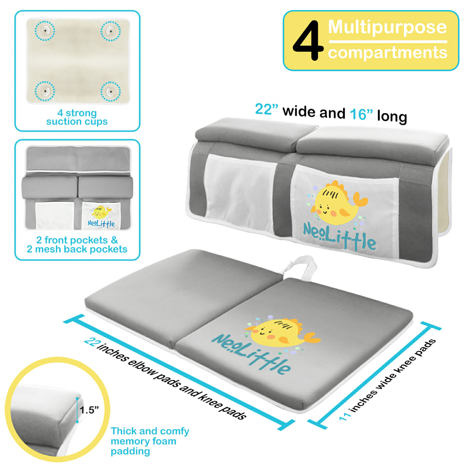 Padded Comfort Knee Mat & Arm Cushion for Bathing and Bathroom Time - 3