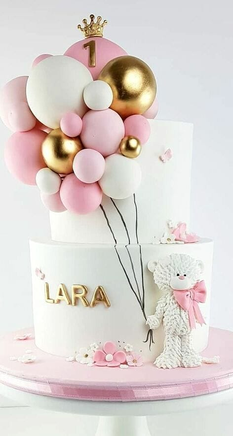 White & Pink With Balloons Cake