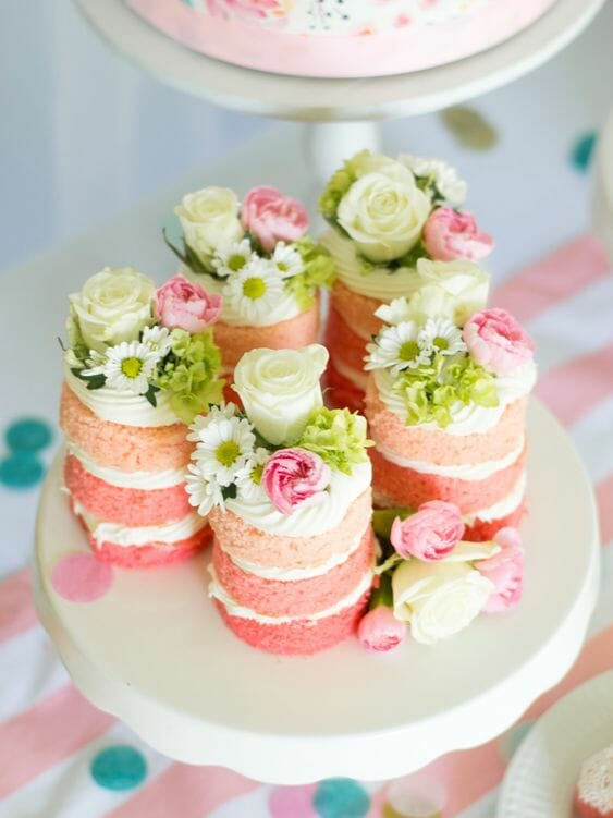 Water Color Flower Mini Cakes