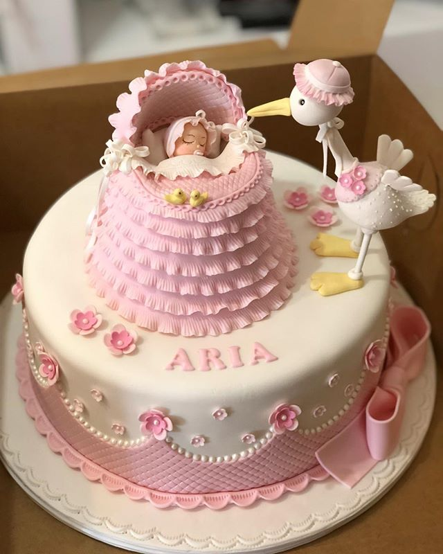 A Baby And Stork Cake